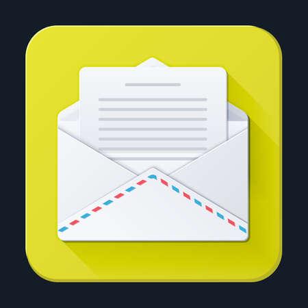 Buchstaben und Umschlag Ikone, vollfarbig auf einem hellen gelben Hintergrund. Vektor-Illustration