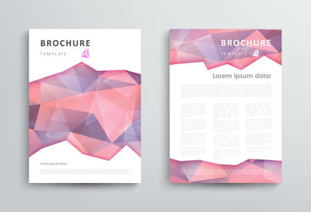 Brochure design template with abstract polygonal background. Vector illustration