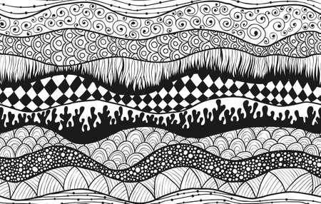 Nahtlose wellige abstrakte Muster, handgezeichnet, doodle Wellen Kunst.