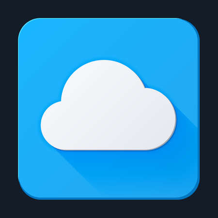 Cloud icon, full-color on a blue background. Vector illustration