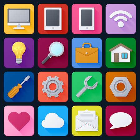 Set von universellen Icons für Web- und mobile Apps. Bunte moderne Design-Illustrationen
