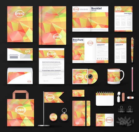 Corporate identity template set. Business stationery mock-up with  triangular background and logo. Illustration