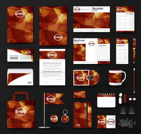 Corporate Identity Vorlage gesetzt. Business-Briefpapier Mock-up mit dreieckigen Hintergrund und Logo. Illustration