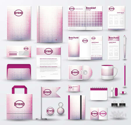 Corporate identity template set with  pink halftone texture on white background.