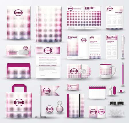 Corporate Identity Vorlage mit rosa Halbton Textur auf weißem Hintergrund gesetzt.
