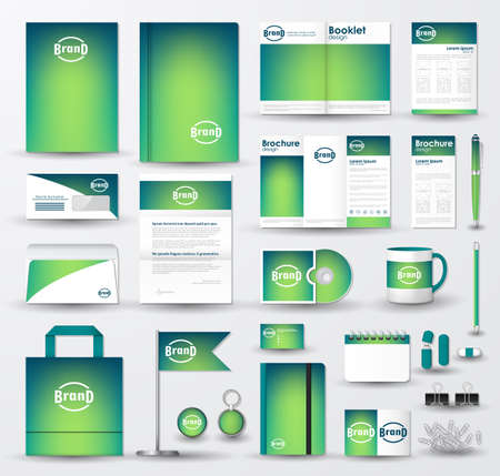 Corporate identity template set. Business stationery mock-up with blue green blurred background and logo.