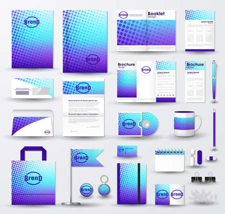 Corporate identity template set. Business stationery mock-up with blue  halftone effect on  blurred background and logo.