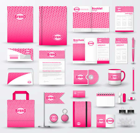 Corporate identity template set. Business stationery mock-up with pink halftone effect on  blurred background and logo.