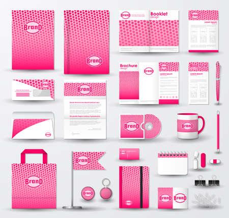 Corporate-Identity-Vorlage festgelegt. Geschäftsdrucksachen Mock-up mit rosaem Halbton-Effekt auf unscharfen Hintergrund und Logo.
