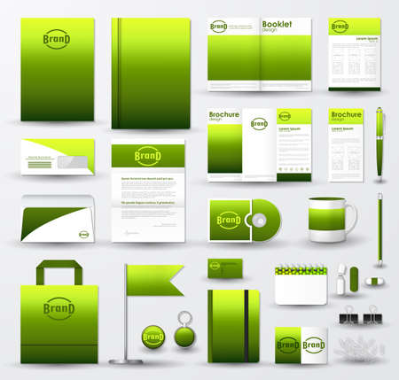 Corporate identity template set. Business stationery mock-up with bright green blurred background and logo. Illustration