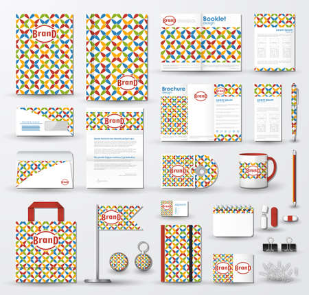 Corporate identity template set. Business stationery mock-up with colorful pattern and logo.