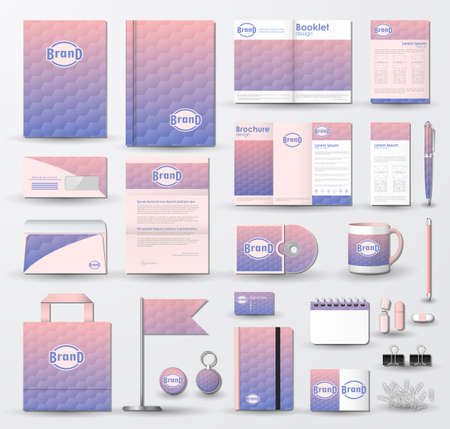 Corporate identity template set. Business stationery mock-up with geometric texture on blurred background and logo.