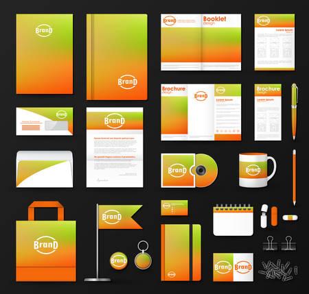Corporate Identity Vorlage gesetzt. Business-Briefpapier Mock-up mit weichen unscharfen Hintergrund und Logo. Illustration
