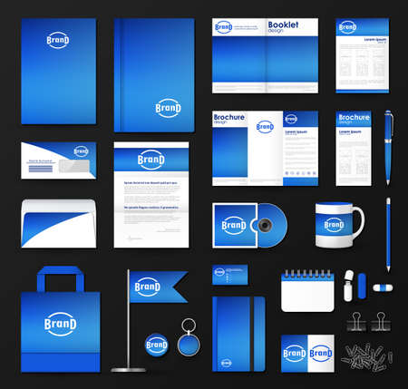 Corporate identity template set. Business stationery mock-up with soft  blurred background and logo.