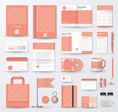 Business corporate identity template with hand drawn texture.