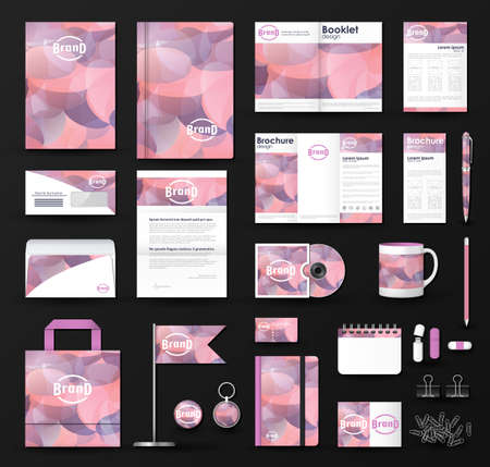 Corporate identity template set. Business stationery mock-up with logo.