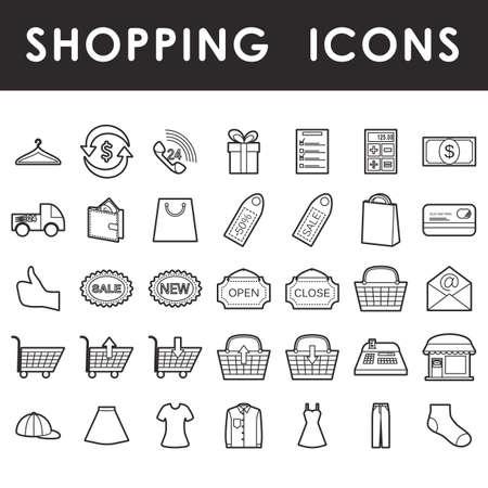 Shopping icons set, outline symbols isolated on white background Illustration