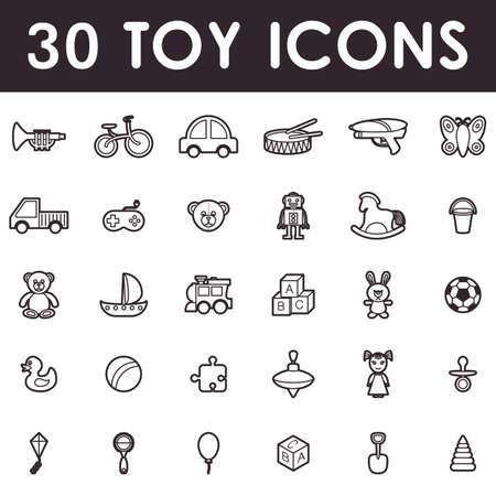 Spielzeug Symbole gesetzt, skizzieren Symbole isoliert auf weißem Hintergrund