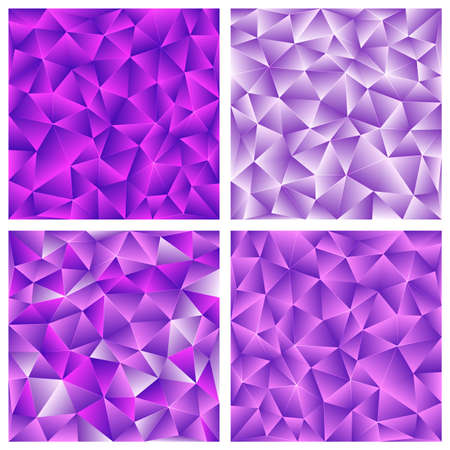 Set of purple abstract low-poly, polygonal triangular mosaic background for web, presentations and prints