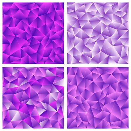 Set von lila abstrakten Low-Poly, polygonalen dreieckigen Mosaik Hintergrund für Web, Präsentationen und Drucke Illustration