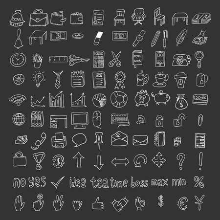 Doodle business icons set, vector illustration.