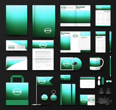Corporate identity template set. Business stationery mock-up with blue green blurred background and logo. Branding design. Illustration