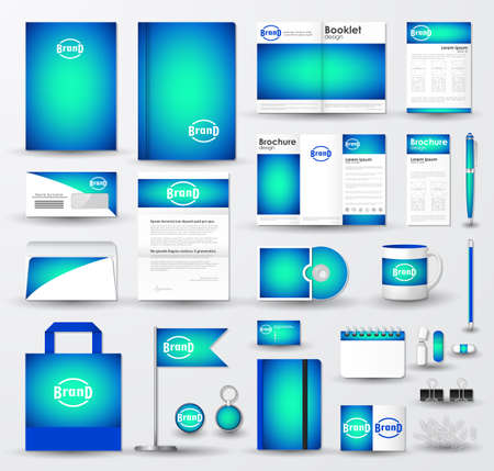 Corporate identity template set. Business stationery mock-up with bright blue blurred background and logo. Branding design.