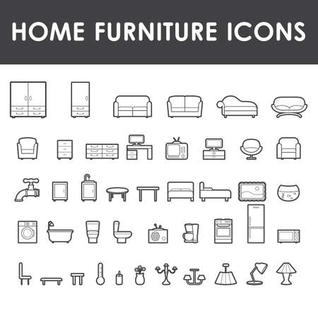 Home furniture outline icons, vector illustration.