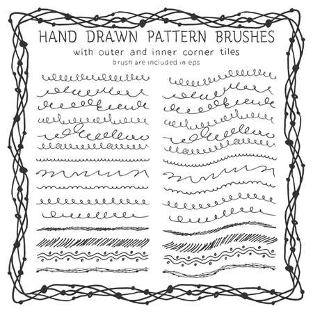 Hand drawn decorative scribble paintbrushes with inner and outer corner tiles. Dividers, borders, ornaments. Ink illustration Illustration