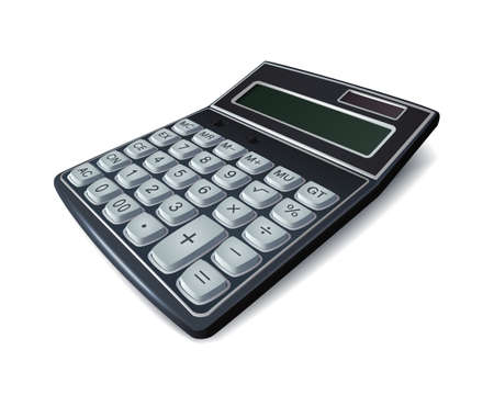 Realistic calculator isolated on white background