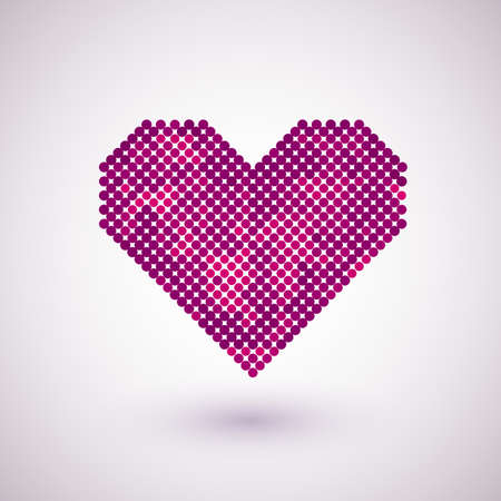 Pink hearts with halftone effect isolated on white background