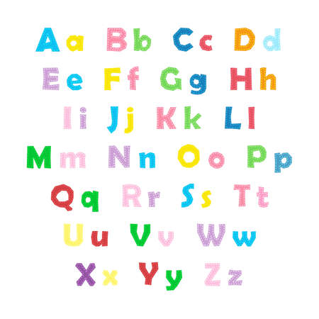 Cartoon colorful alphabet on white background, uppercase and lowercase letters 向量圖像