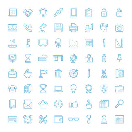 A set of simple outline office equipment icons, expand stroke