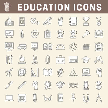 Set of school and education outline icons with fill 向量圖像