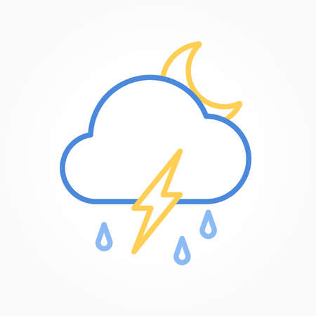Icon weather moon, cloud, rain with lightning on a white background