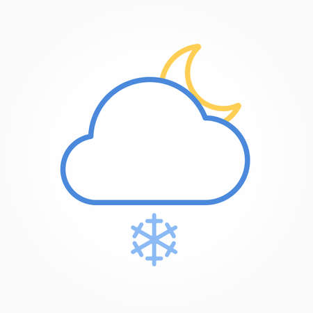 Icon weather moon, snow and cloud on a white background 向量圖像