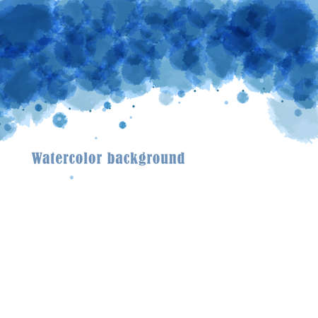 Abstract blue background with imitation watercolor stains