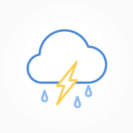 Icon weather cloud, rain with lightning on a white background