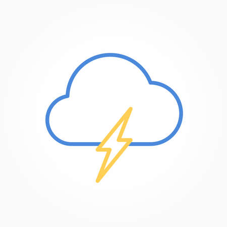 Icon weather cloud with lightning on a white background Stok Fotoğraf - 112237634