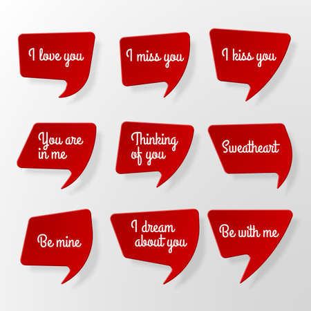 Set of red paper speech bubbles with shadow and romantic phrases Illustration