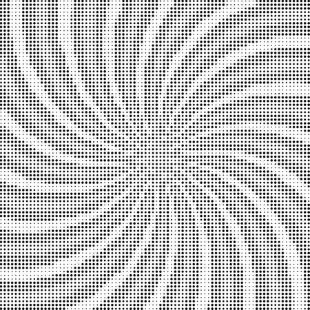 Abstract background of swirling rays with a monochrome halftone effect