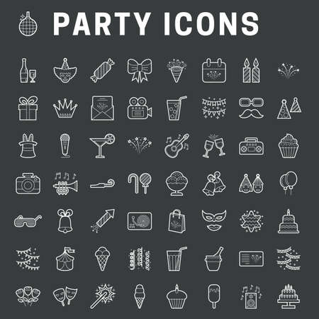 A set of simple outline party icons, expand stroke Stok Fotoğraf - 112157166