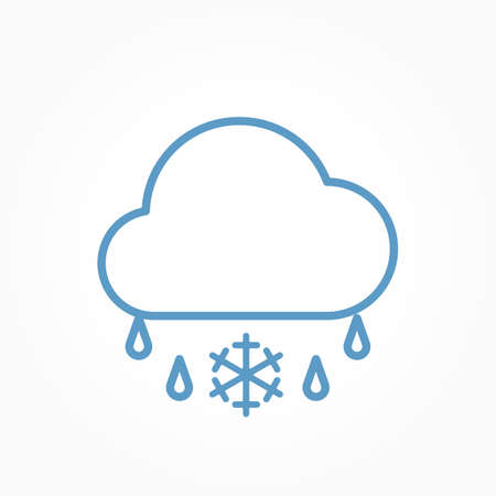 Icon weather cloud and sleet on a white background Çizim