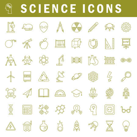 A set of simple outline science icons, editable stroke Stok Fotoğraf - 112157173