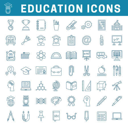 Set of school and education outline icons, editable stroke Stok Fotoğraf - 112157175