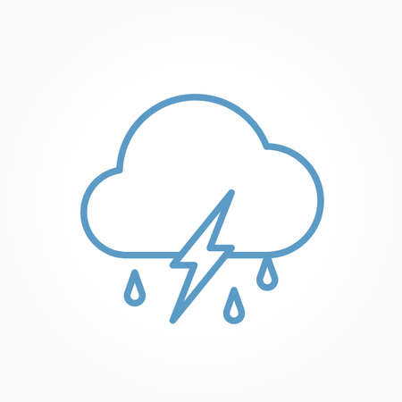 Icon weather cloud, rain with lightning on a white background Stok Fotoğraf - 112157177