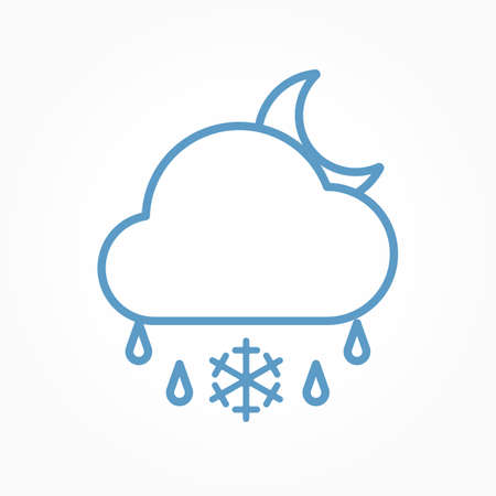Icon weather moon, cloud, sleet on a white background Çizim