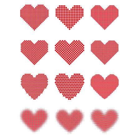 Set of red hearts with halftone effect