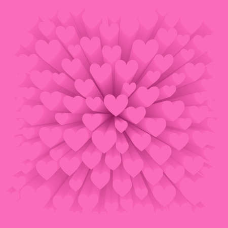 Greeting card for Valentine Day. Abstract background of many pink hearts Çizim