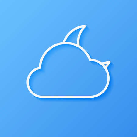 Icon weather moon and cloud on a blue background Çizim